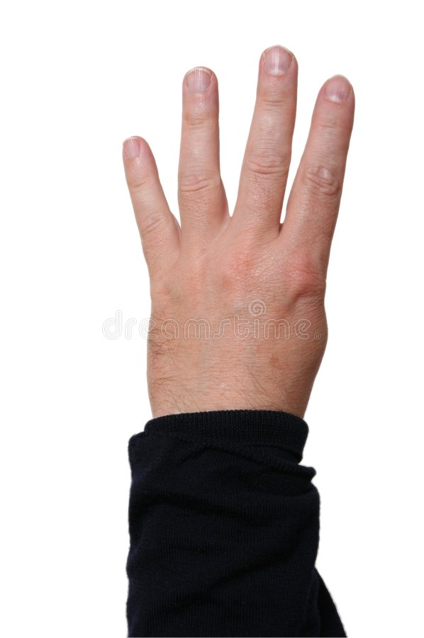 Left Hand Showing Four Fingers Royalty Free Stock Images