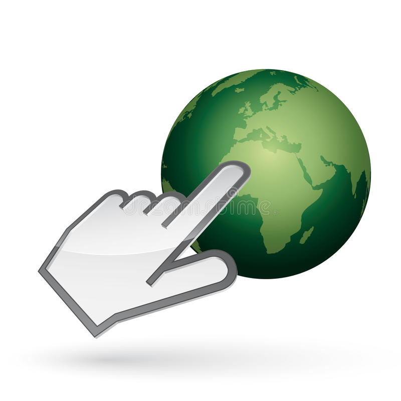 Left-handed cursor on green earth royalty free stock images