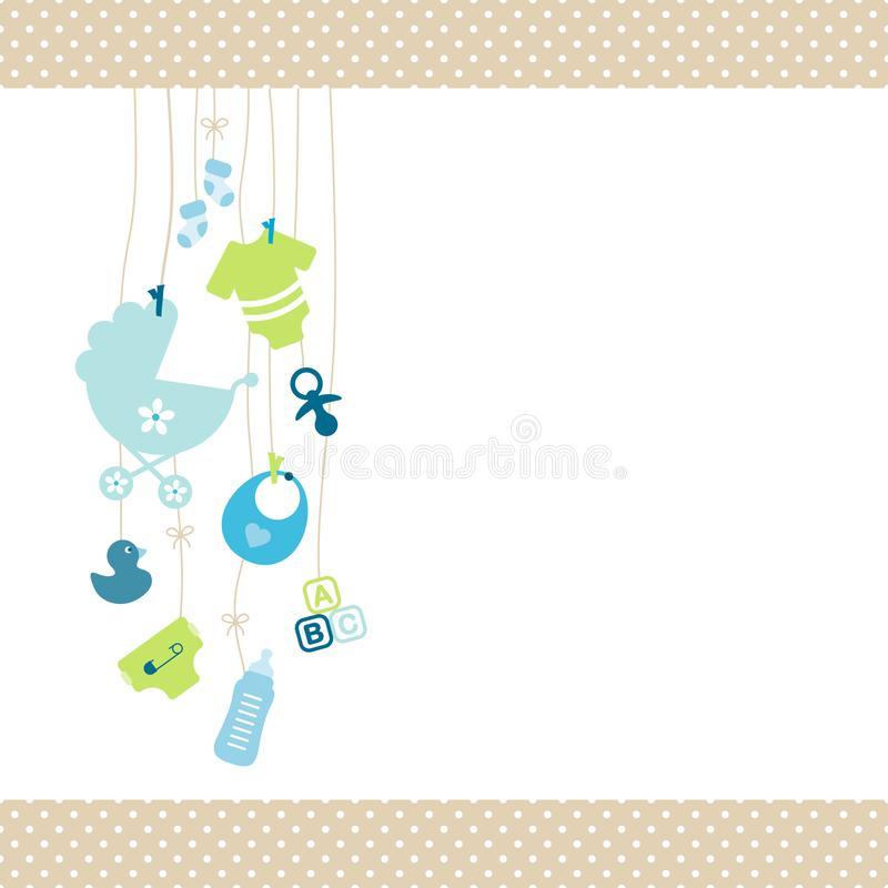 Left Hanging Baby Icons Boy Blue And Green Dot Border Beige royalty free illustration