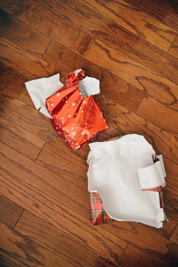 Left over Christmas gift wrapping paper stock photo