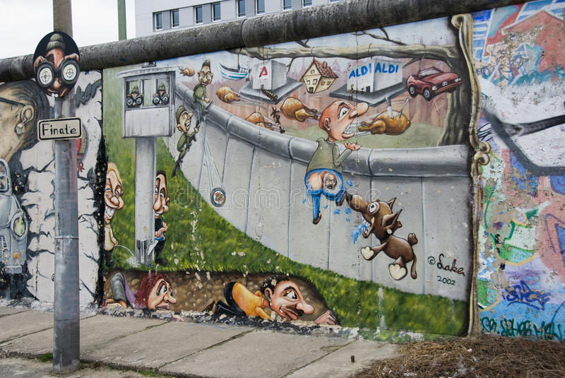 Left part of the berlin wall east side gallery stock photo