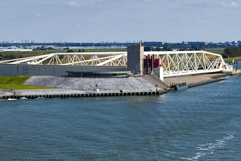 Left part of Storm Surge Barrier. Maaslantkering, the Netherlands as seen from the seaside royalty free stock image