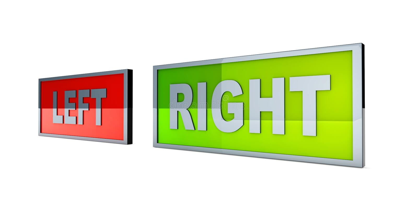 Left and right. Political directions. 3D rendered illustration royalty free illustration