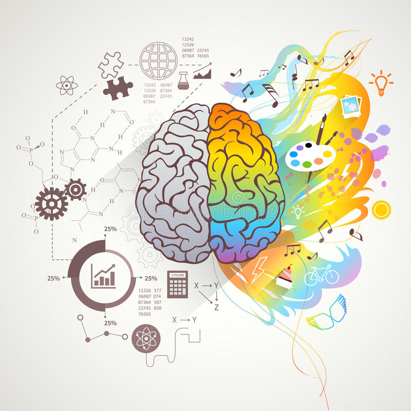 Left Right Brain Concept stock illustration