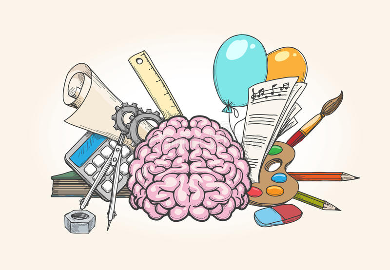 Left and right brain concept. Human brain creativity and analytical skills hand drawn vector illustration vector illustration