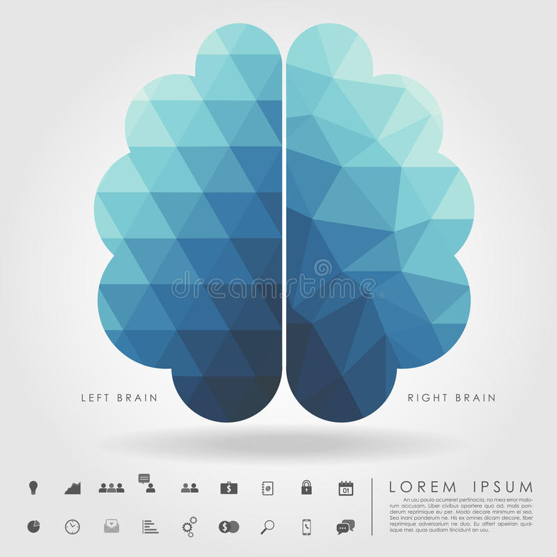 Left and right brain on concept pattern and free form geometry royalty free illustration