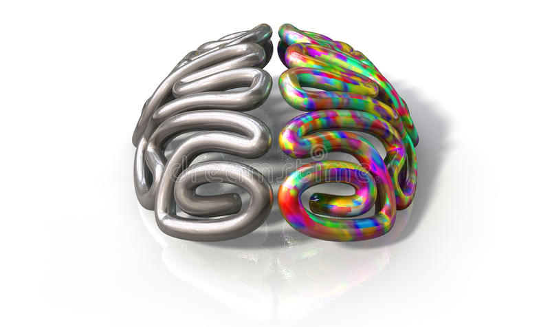 Left And Right Brain Concept. A stylized metal casting depicting a brain with the left side depicting an conservative and logical mind, and the right side royalty free stock images