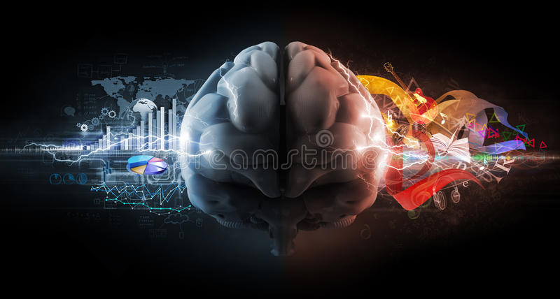 Left and right brain functions. Concept vector illustration