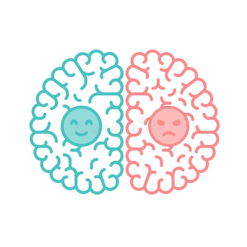 Left and Right Brain, Happy and Moody concept outline stroke fla. T design with Smile and Angry face symbol illustration isolated on white background with copy stock illustration