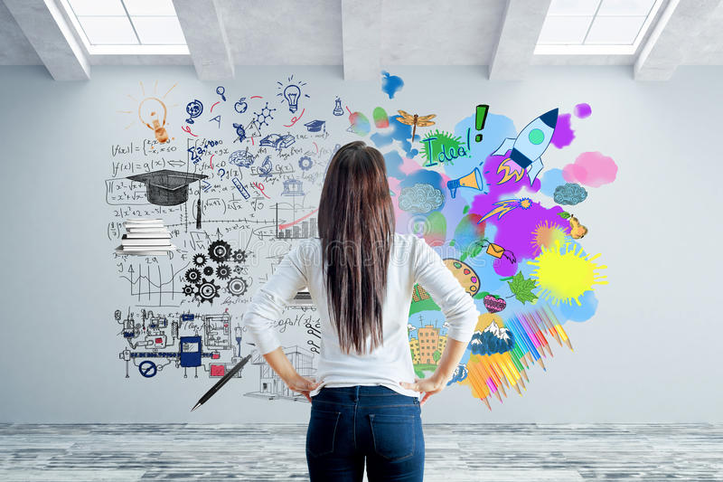Left and right brain sides concept. Back view of young woman in concrete interior looking at wall with abstract sketch. Left and right brain sides concept. 3D stock images