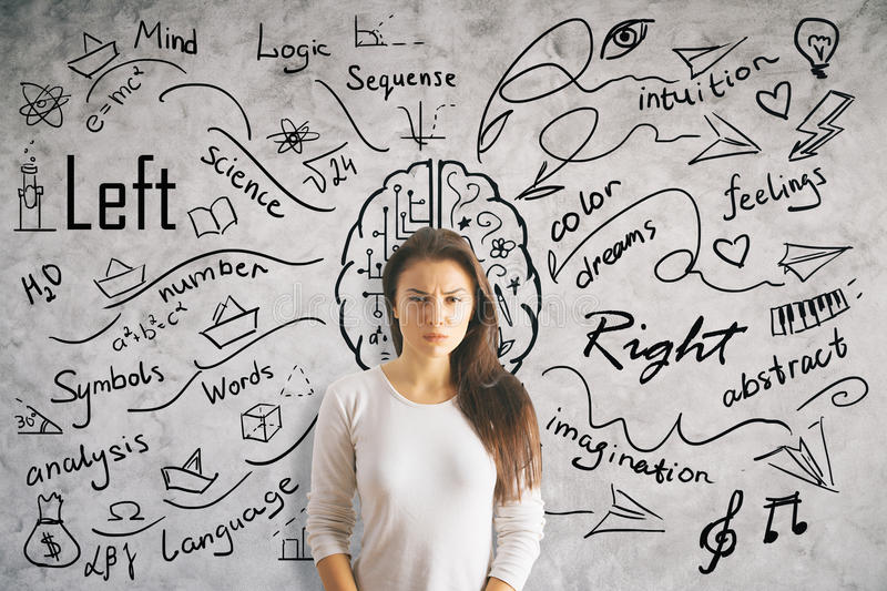 Left and right brain sides stock photography