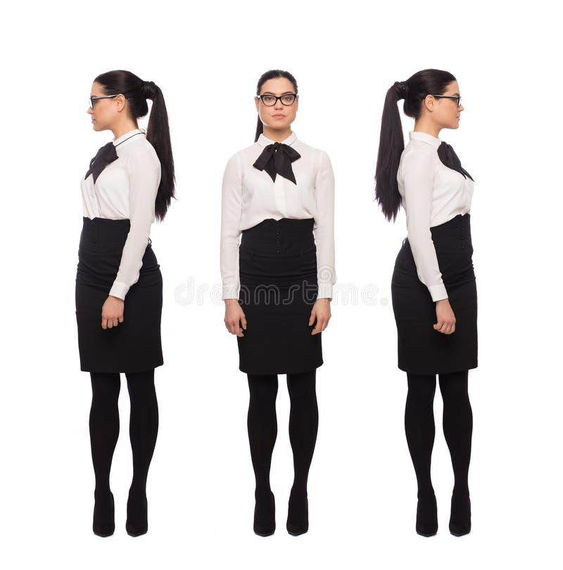 Left and right di giro della giovane donna per trovare il suo modo tramite la decisione fotografie stock