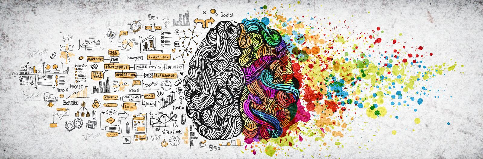 Left right human brain concept, textured illustration. Creative left and right part of human brain, emotial and logic. Parts concept with social and business stock photography
