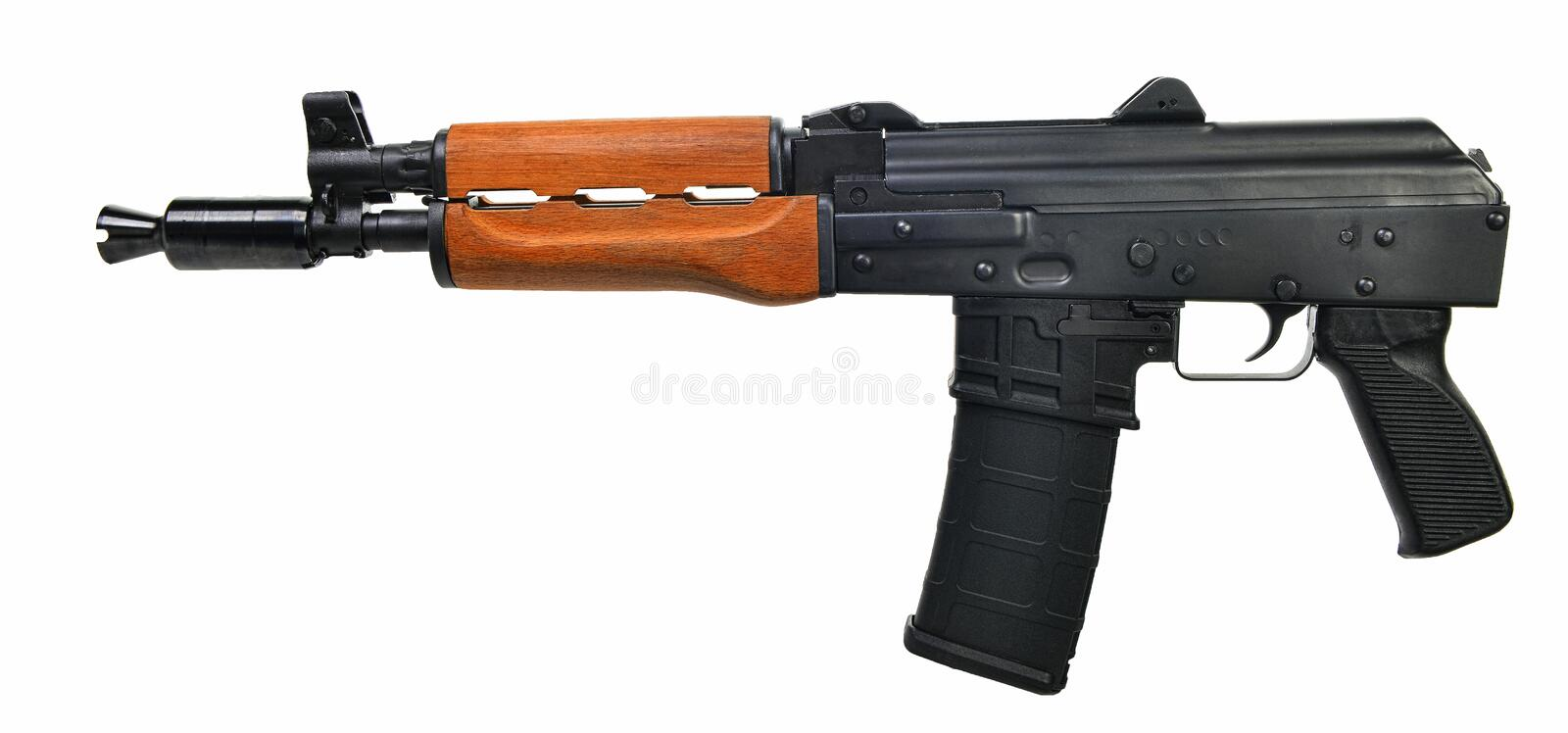 Left side AK47 Pistol isolated 0n white background royalty free stock photo