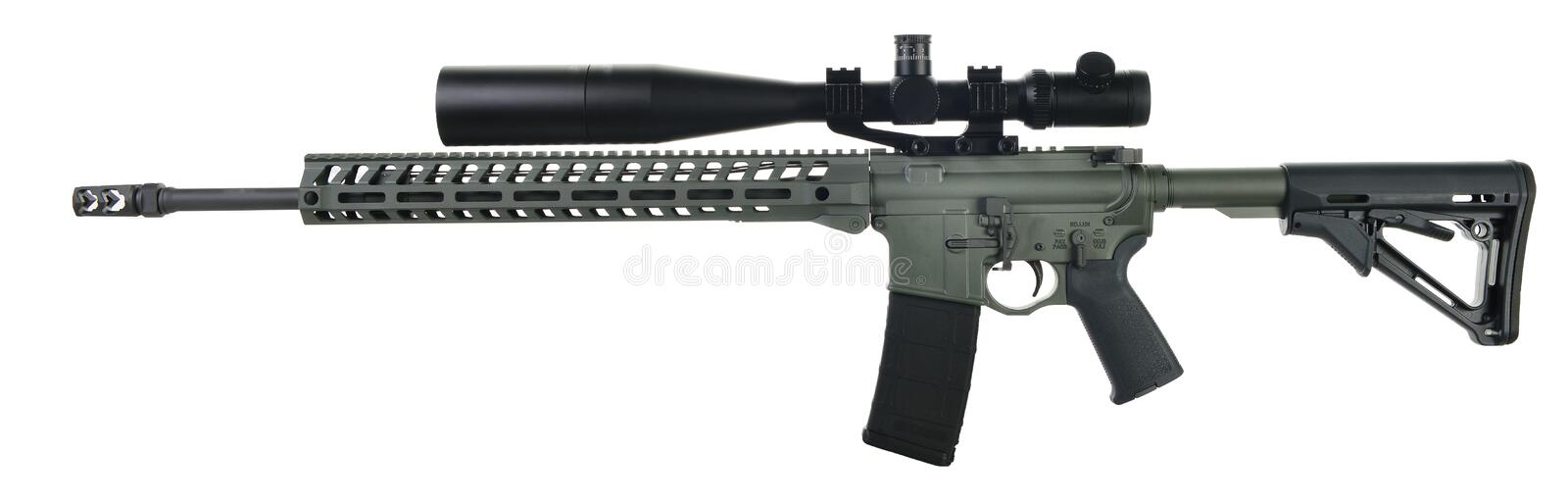 Left side AR15 rifle with foliage green paint royalty free stock images