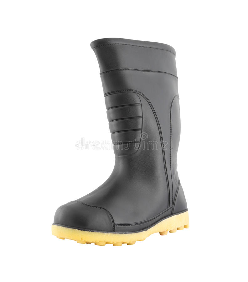 Left side of rubber black boot shoe. On white background stock photo
