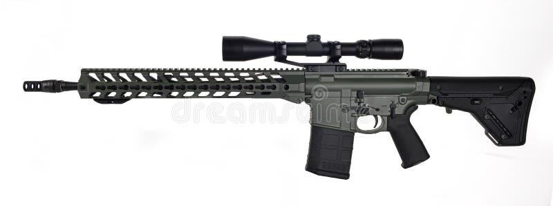 Left side scoped AR10 stock image