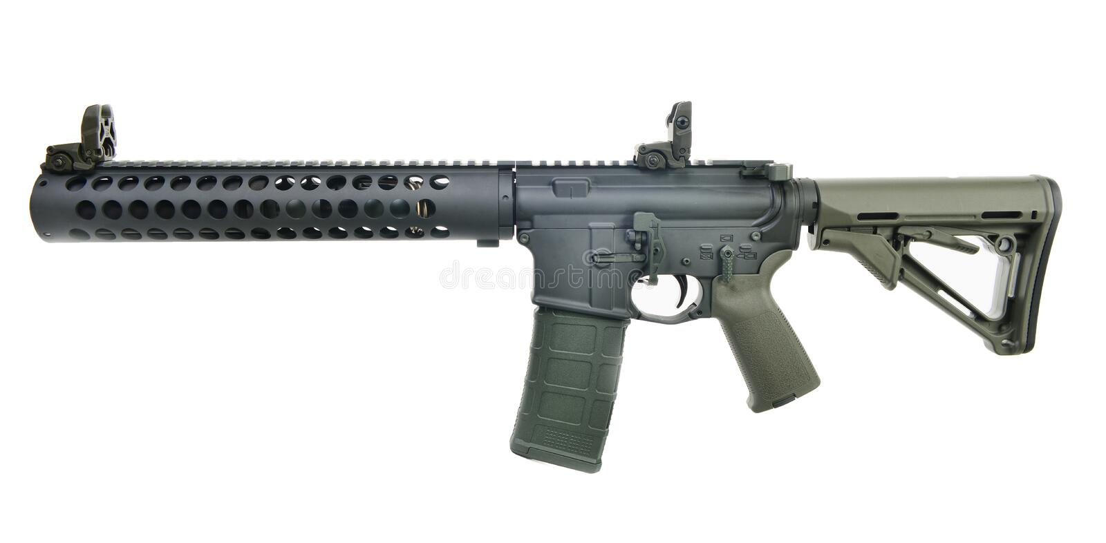 Left Side Supressed AR15 SBR with 30rd mag and collapsed stock stock images