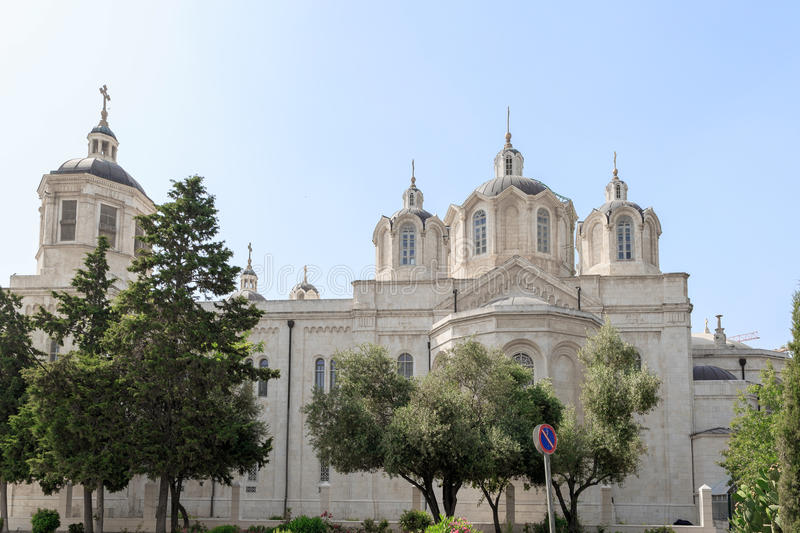 The left side of Trinity Cathedral of a Russian Ecclesiastical Mission. In Jerusalem royalty free stock image