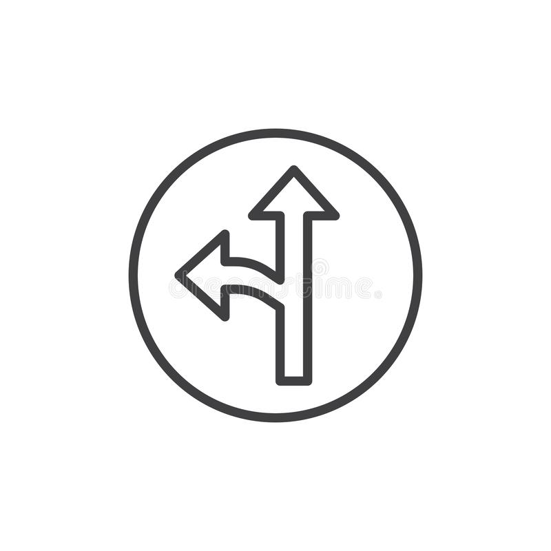 Left and straight arrow line icon stock illustration