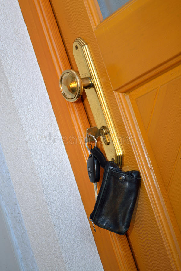 Left stuck Front door key stock image. Image of security - 70295447