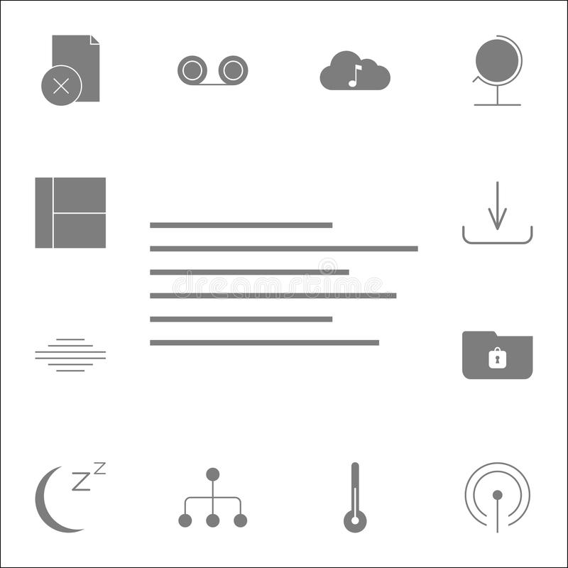 Left text alignment icon. Detailed set of minimalistic icons. Premium quality graphic design sign. One of the collection icons for. Websites, web design, mobile royalty free illustration