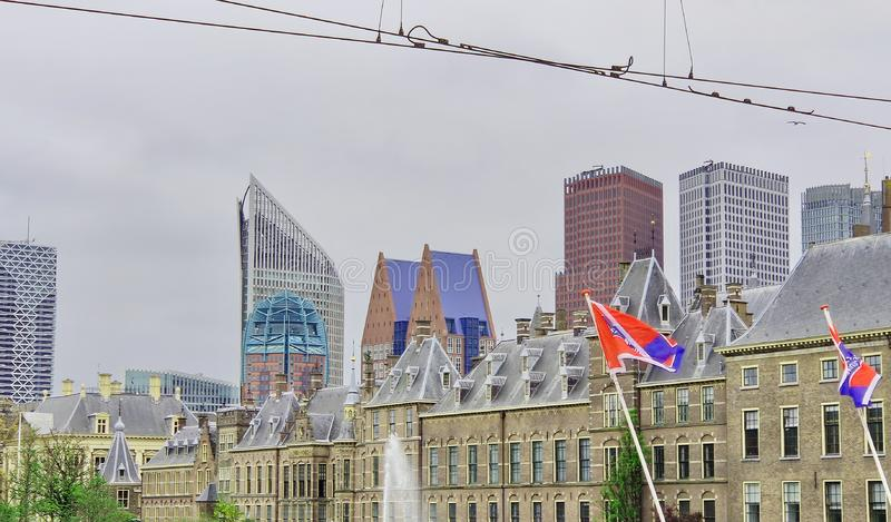 The Hague skyline: Parliament and skyscrapers. Den Haag, The Netherlands stock photos