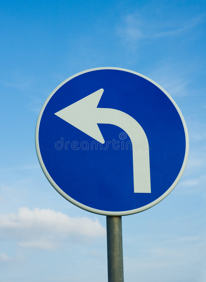 Left turn road sign royalty free stock photo