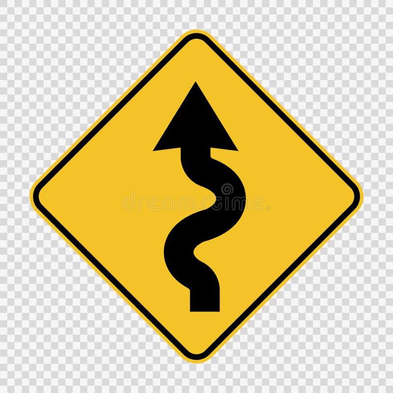 Left winding road Sign on transparent background. Left winding road Signs on transparent background stock illustration