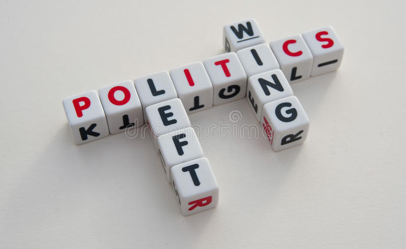 Left wing politics. Text ' left', 'wing ' and ' politics ' inscribed on small white cubes and arranged crossword style to say left wing politics, bright royalty free stock image