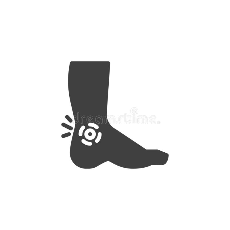 Leg ankle pain vector icon. Filled flat sign for mobile concept and web design. Foot pain glyph icon. Symbol, logo illustration. Vector graphics stock illustration