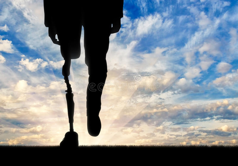 Leg with artificial limb on background sky. Leg with prosthesis background on sky. Concept disabled vector illustration