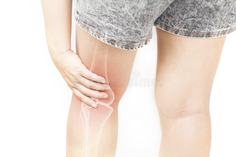 Leg bones pain. White background leg injury royalty free stock photos