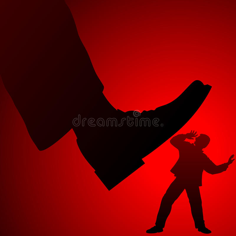 Leg Boss Shoe Bureaucracy Man Government Social Injustice Violence Background. Social injustice of a bureaucratic state system of power for an ordinary citizen stock illustration