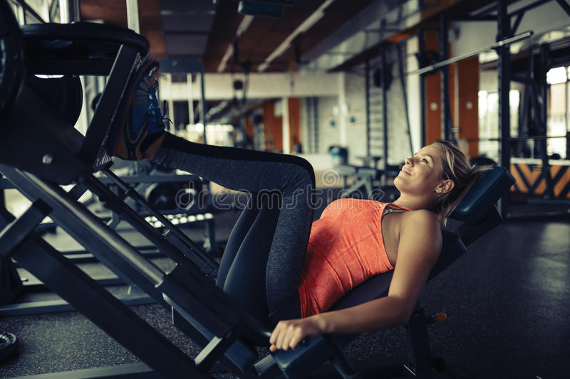 Leg day for beautiful woman royalty free stock photos