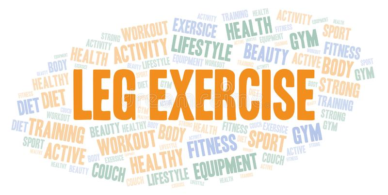 Leg Exercise word cloud. Wordcloud made with text only vector illustration