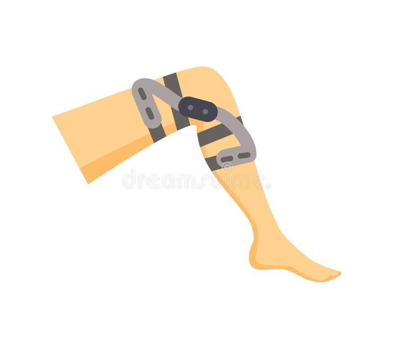 Leg Fixator for Harmed Leg Vector Illustration. Of special medicine overlay on human knee, orthopedic tool sample, image isolated on bright background stock illustration