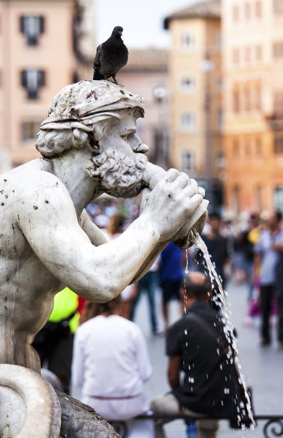 Leg Fontein (Fontana del Moro) standbeeld vast stock foto's