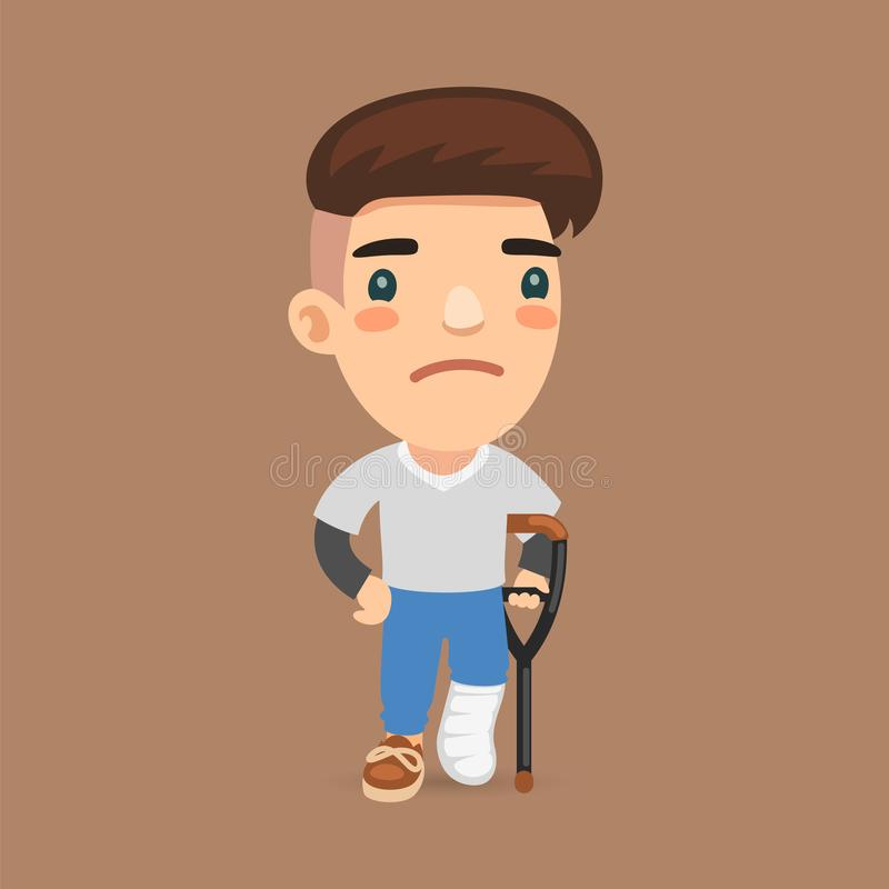 Leg Fracture Guy. Sad guy with a broken leg on a crutch. Flat male character royalty free illustration