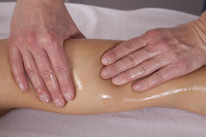Leg getting massaged