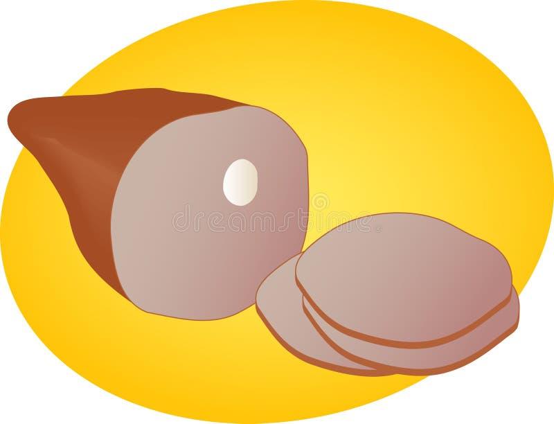 Leg of ham illustration. Leg of ham, sliced pork lunch meat, illustration royalty free illustration