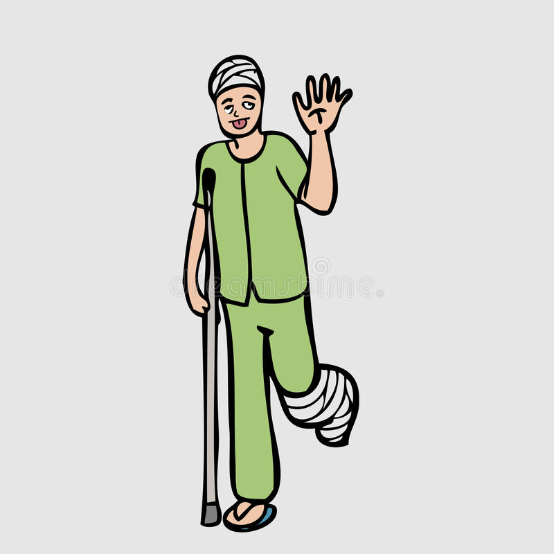 Leg injure patient. Head and leg injury man cartoon character royalty free illustration