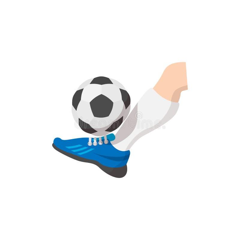 Leg kicks the ball cartoon icon. Isolated on a white background royalty free illustration