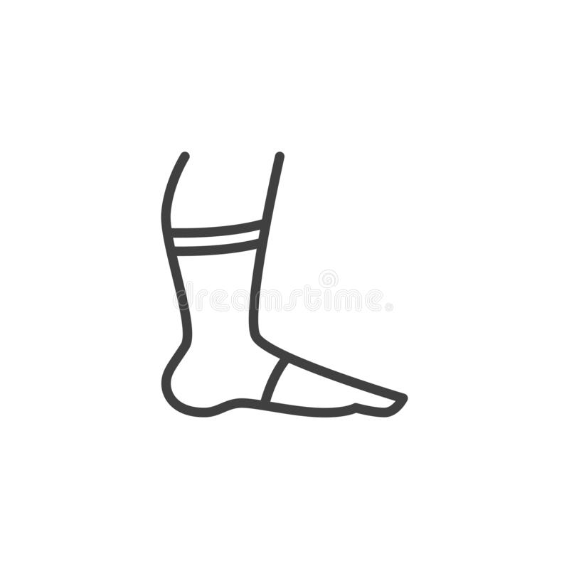 Leg with orthopedic bandage line icon. Foot ankle brace linear style sign for mobile concept and web design. Ankle with bandage outline vector icon. Symbol vector illustration