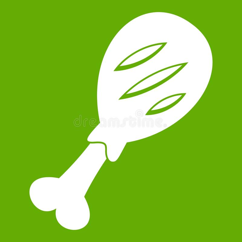 Leg of pork icon green. Leg of pork icon white isolated on green background. Vector illustration royalty free illustration
