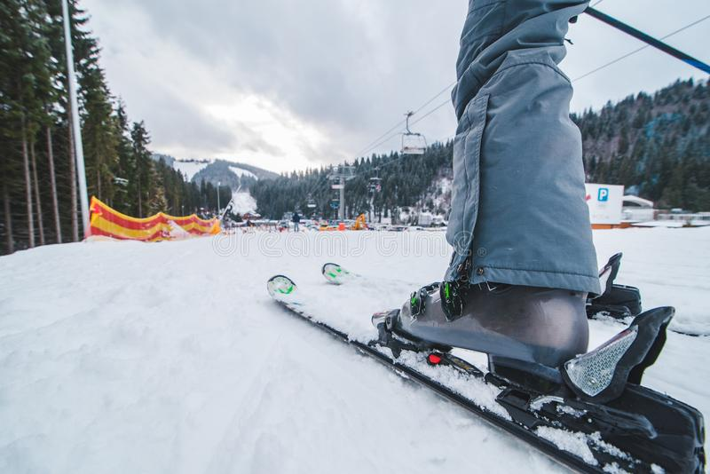 Leg with ski close up. winter time royalty free stock photo