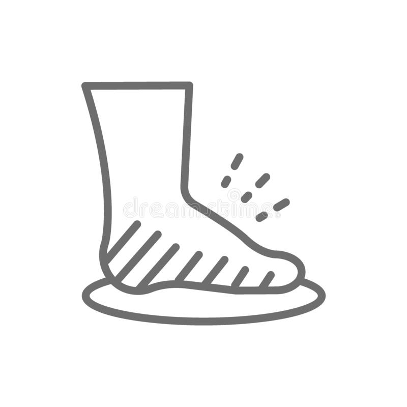 Leg swelling, edema, obesity, fat foot line icon. Vector leg swelling, edema, obesity, fat foot line icon. Symbol and sign illustration design. Isolated on royalty free illustration
