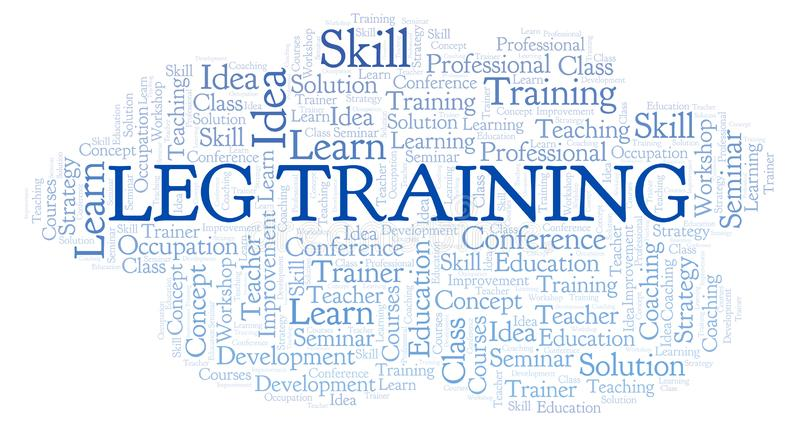 Leg Training word cloud. Wordcloud made with text only royalty free illustration