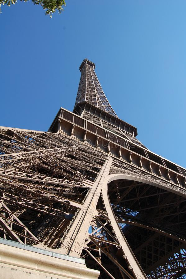 Leg view of the Eiffel Tower stock image