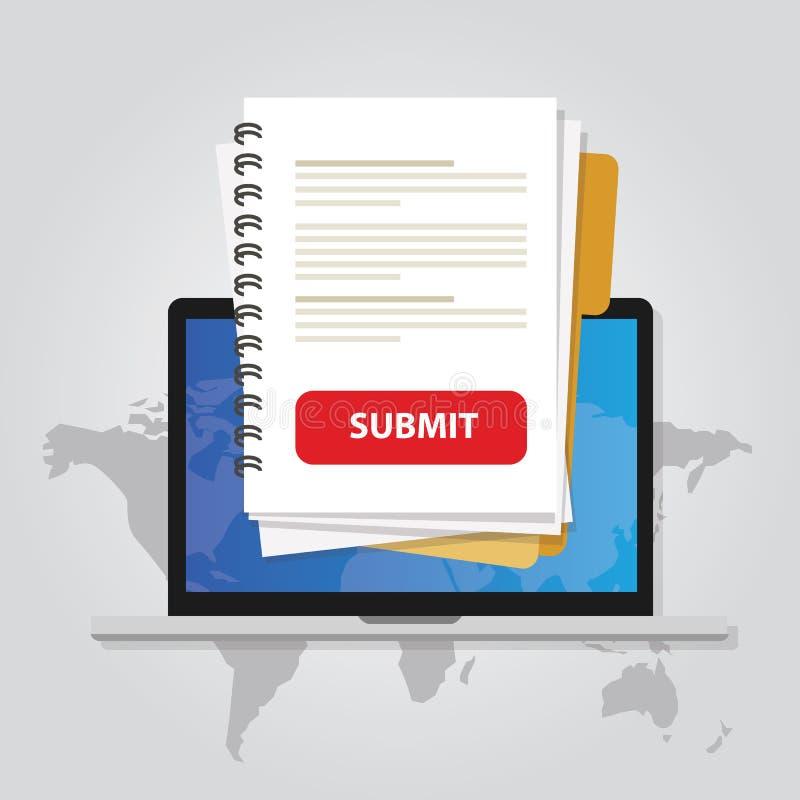 Leg voor het document via laptop met rode knoop via Internet online aanvraagformulier hervat Witboek uploadt royalty-vrije illustratie